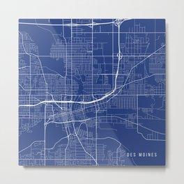 Des Moines Map, USA - Blue Metal Print