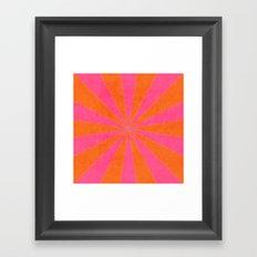 orange and hot pink starburst Framed Art Print