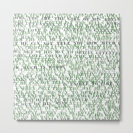 Sentences of Love Green Metal Print