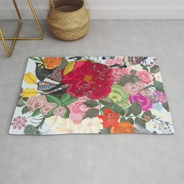 Spring Time Colorful Vibrant Colored Artistic Flowers Bouquet With Butterfly and Dragonfly Pattern Rug