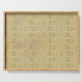 Golden Celtic Pattern on canvas texture Serving Tray