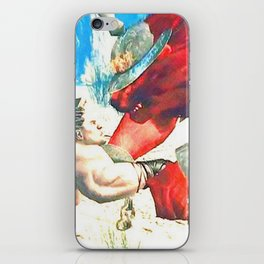 Battle with red wolf iPhone Skin