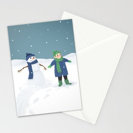 Snowman Twins Stationery Cards
