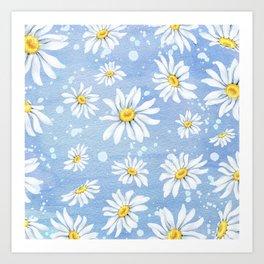 Spring Daisies On Sky Blue Watercolour Art Print
