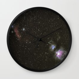 Orion horsehead running man and flame nebula Wall Clock