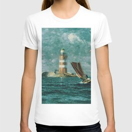 Vintage Painting of a Coastal Lighthouse (1895) T-shirt