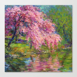 Blossoming Tree reflected in the water impressionistic prints by Svetlana Novikova Canvas Print