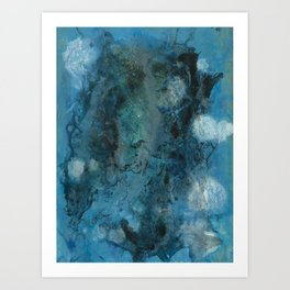 An Encounter at Sea - Abstract Blue Black Painting Art Print