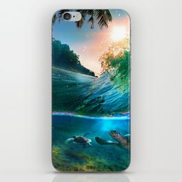 Palm Tree - Waves - Turtles - Beach - Ocean iPhone Skin