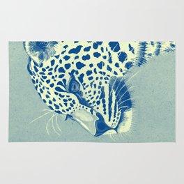 Leopard Turquoise feline glance Rug
