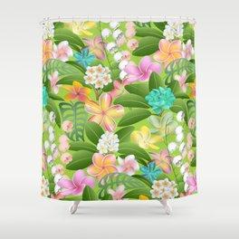 Tropical Floral Plumeria Paradise Shower Curtain