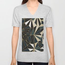 New Art Deco Geometric Pattern - Emerald green and Gold Unisex V-Neck