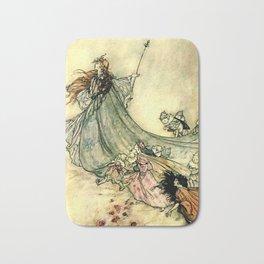 """""""Queen of the Fairies"""" by Arthur Rackham Midsummer's Night Bath Mat"""