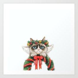 Christmas Angel Cat Art Print