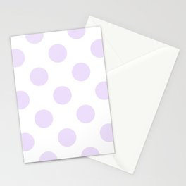Geometric Orbital Circles In Pale Delicate Summer Fresh Lilac Dots on White Stationery Cards