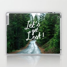 Let's get Lost! - Quote Typography Green Forest Laptop & iPad Skin