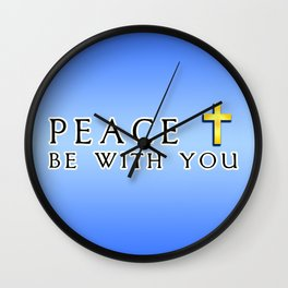 Peace Be With You Cross Blue Wall Clock