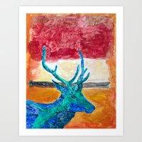 rothko Art Prints featuring Deer Rothko by winterkl