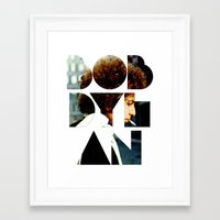 font Framed Art Prints featuring Bob Dylan Font Colour by Fligo