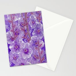 Hollyhock Mallows, Summer Flowers, Floral Collage Violet  Stationery Cards