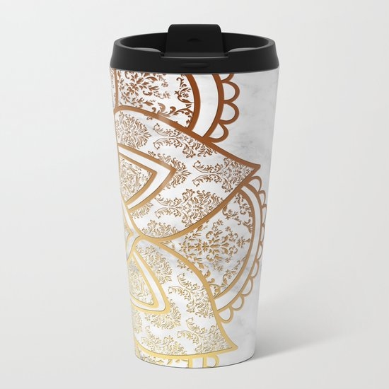 Mandala - Gold & Marble Metal Travel Mug