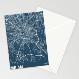 Milan Blueprint Street Map, Milan Colour Map Prints Stationery Cards