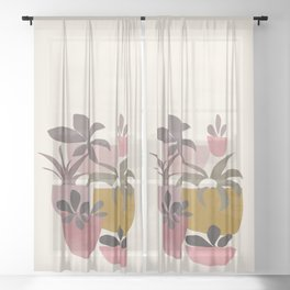 Succulents in Terracotta Sheer Curtain