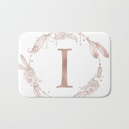 Letter I Rose Gold Pink Initial Monogram Bath Mat