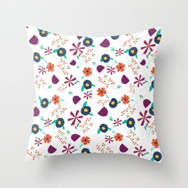 Purple Orange Blue Flower Pattern Throw Pillow