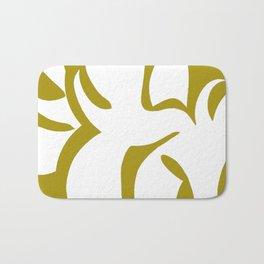 Geometric Abstract Floral Design Pattern Mustard  Bath Mat