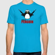 Machine Gun Penguin Mens Fitted Tee Teal 2X-LARGE