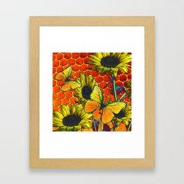 ORANGE-YELLOW BUTTERFLIES & SUNFLOWERS ARTISTIC HONEYCOMB DRAWING Framed Art Print