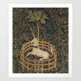 The Unicorn Rests in a Garden (from the Unicorn Tapestries) Art Print