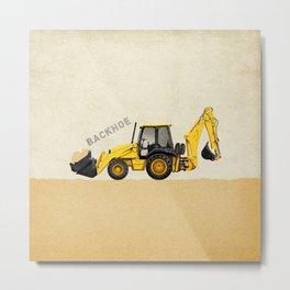Construction Backhoe Metal Print