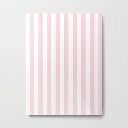Narrow Vertical Stripes - White and Light Pink Metal Print