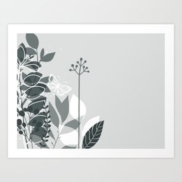 PPG Night Watch Pewter Green Botanicals and Butterfly Graphic Design 2 Art Print