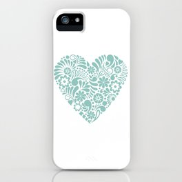 Heart shape maori koru flower abstract design iPhone Case