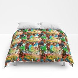 Monoprint painting Comforters