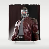 star lord Shower Curtains featuring Star Lord Fan Art by Vito Fabrizio Brugnola