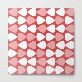 Plectrum Pattern in Blush Pink, White, and Pinkish Red Metal Print