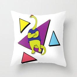Nineties Dinosaur Jurassic Crew Brontosaur Throw Pillow