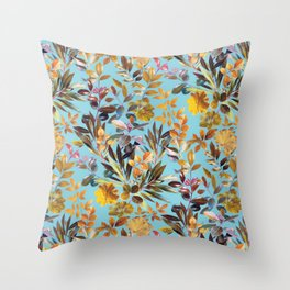 Colorful Garden Leaves on Turquoise Blue Throw Pillow