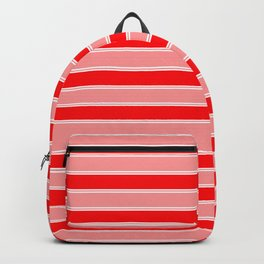 Large Horizontal Christmas Holiday Red Velvet and White Bed Stripe Backpack