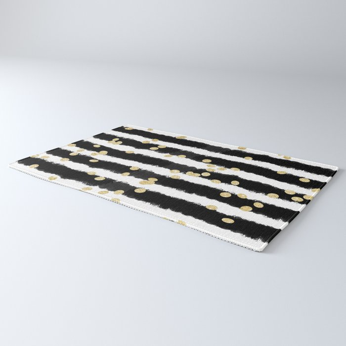 Modern black watercolor stripes chic gold confetti Rug