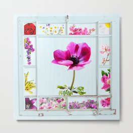 Grungy frame with summer flowers Metal Print