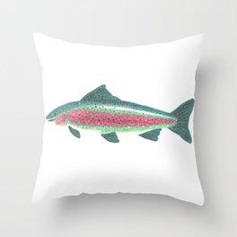 Trout Portrait - fish illustration Throw Pillow