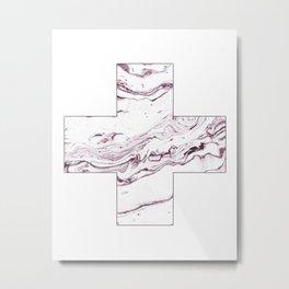 Swiss cross marble dark red Metal Print