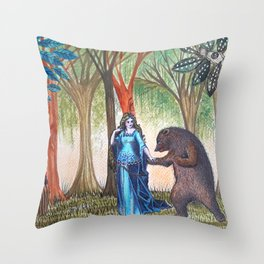 The lady and the bear Throw Pillow