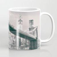 brooklyn bridge Mugs featuring Brooklyn Bridge  by Vivienne Gucwa