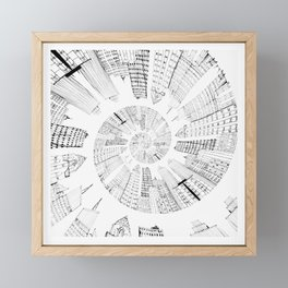 black and white city spiral digital painting Framed Mini Art Print